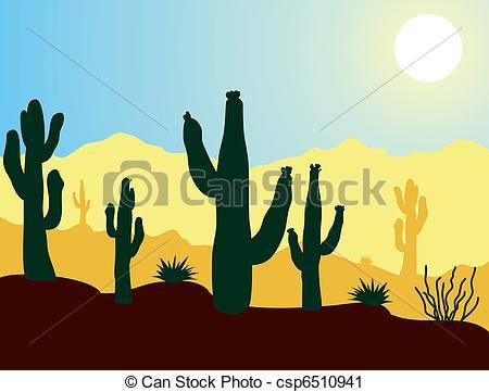 In The Desert clipart desert mountain Vector vector cactus mountains