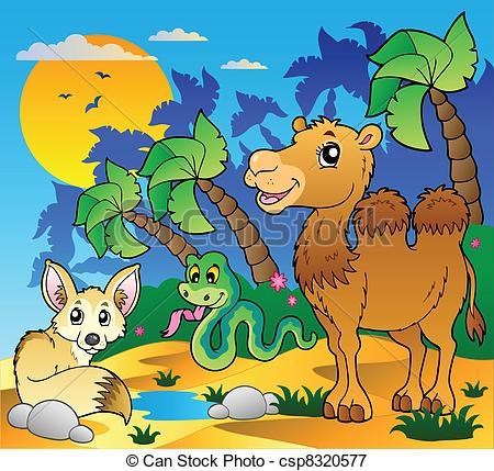 In The Desert clipart desert scene Various csp8320577 of Illustration Vectors