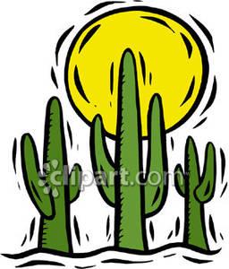 In The Desert clipart desert sun Free Sun Cacti Sun with