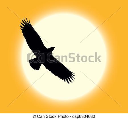 In The Desert clipart desert sun On eagle flying Silhouette csp8304630