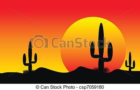 In The Desert clipart desert sunset Sunset csp7059180 sunset with cactus