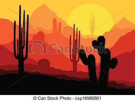 In The Desert clipart desert sunset Plants sunset Vector in Cactus