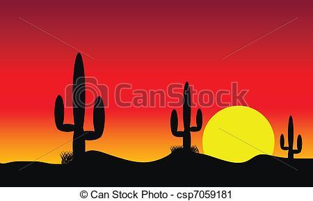 In The Desert clipart desert sunset Sunset csp7059181 Desert with with