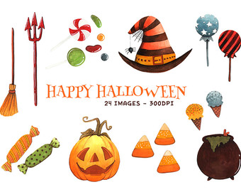 In The Desert clipart halloween food Assets Watercolor Trick Instant Clipart