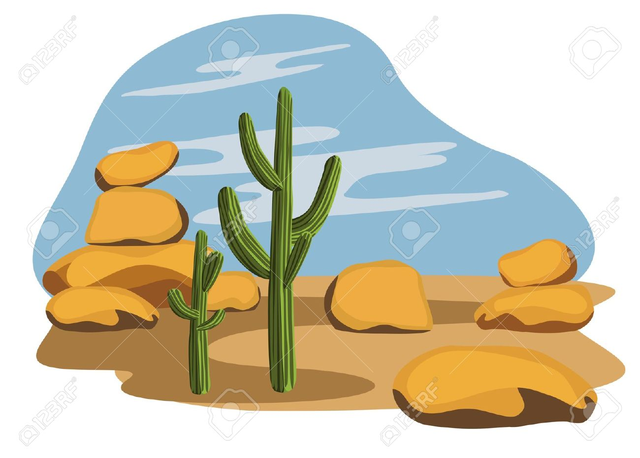 In The Desert clipart mexican cactus Desert Desert cacti clipart with