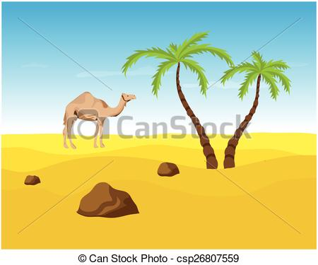 In The Desert clipart oasis Palms and oasis vector Camel