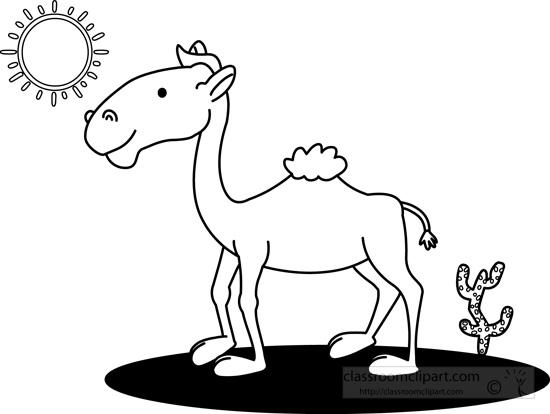 In The Desert clipart outline Camel black : outline in