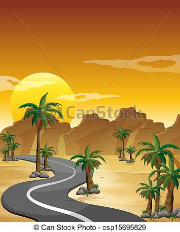 In The Desert clipart pathway Road long and winding Illustration