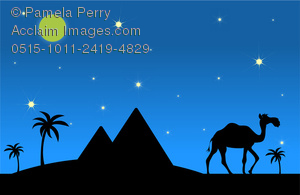 In The Desert clipart piramid And Walking Camel a Clip