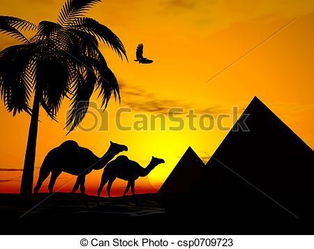 In The Desert clipart piramid Illustration sunset Desert egypt Camels