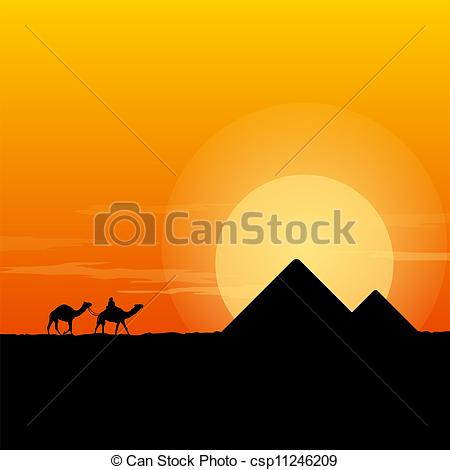 In The Desert clipart scenery Caravan Pyramid with Pyramid Clipart
