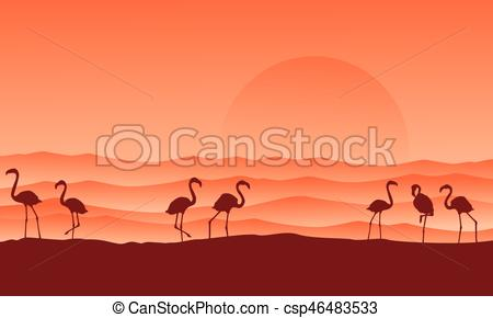 In The Desert clipart scenery Scenery flamingo  with Vectors