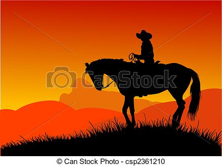 In The Desert clipart silhouette Of in cowboy and Vector