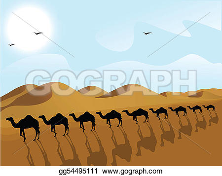 In The Desert clipart silhouette  row of of of