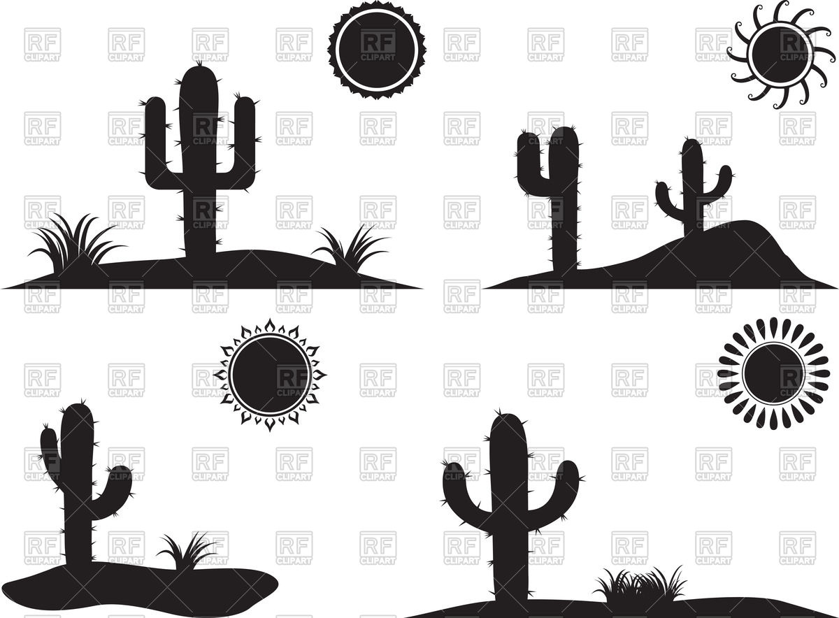In The Desert clipart silhouette With silhouette Silhouette Cactus desert