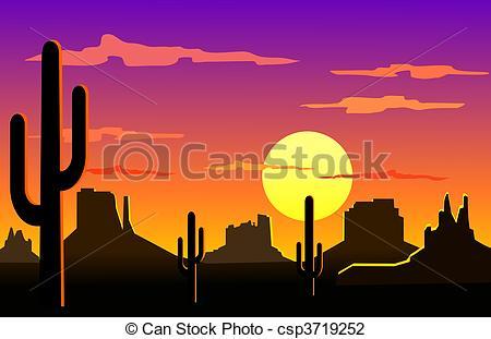 In The Desert clipart silhouette Clip of Arizona Art landscape