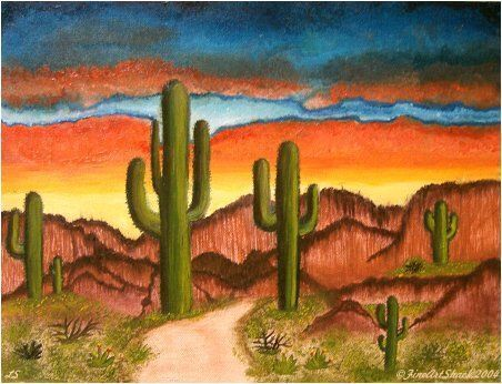 Drawn cactus desert landscape Scene Best artwork from by