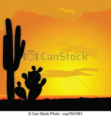 In The Desert clipart vector Of black cactus desert vector