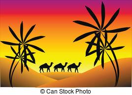 In The Desert clipart vector Desert in mountains Sunset Desert