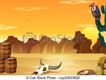 In The Desert clipart wallpaper Vector Illustration with desert of