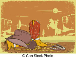 In The Desert clipart western background And Clip Western EPS Art