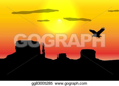 In The Desert clipart western background Western silhouettes Western Clipart flying