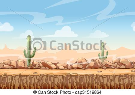 In The Desert clipart western background Seamless West game Wild Vector