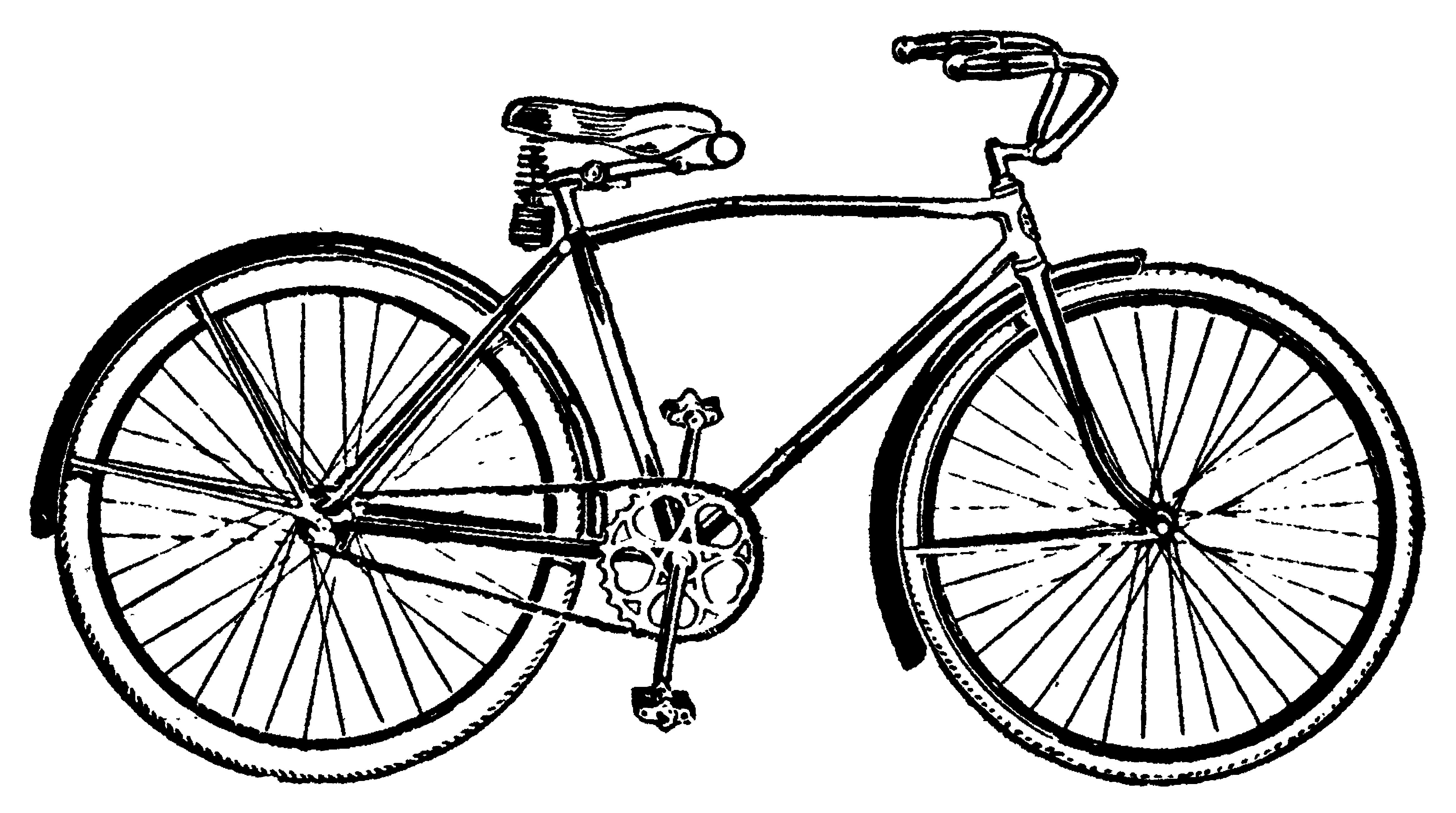 Pushbike clipart line drawing Clip 17 Vintage Vintage Art