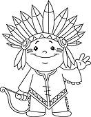 Indian clipart black and white Outlined · kid Art Royalty