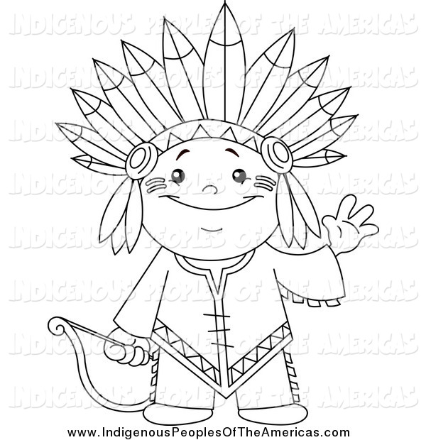 Indian clipart black and white Of Clipart Black Cute Native