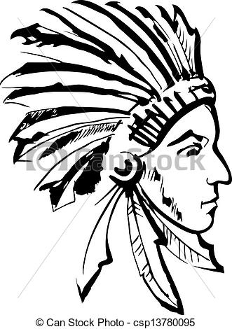 Indian clipart black and white And (black csp13780095 Indian