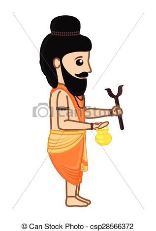 Indian clipart brahmin Indian Cartoon Character  Vector