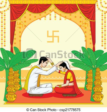 Indian clipart bride groom Indian Hindu Wedding Vector of