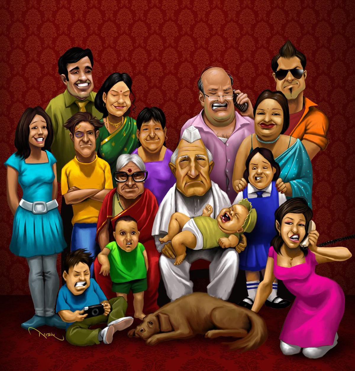 Indian clipart family member 4 joint indian India