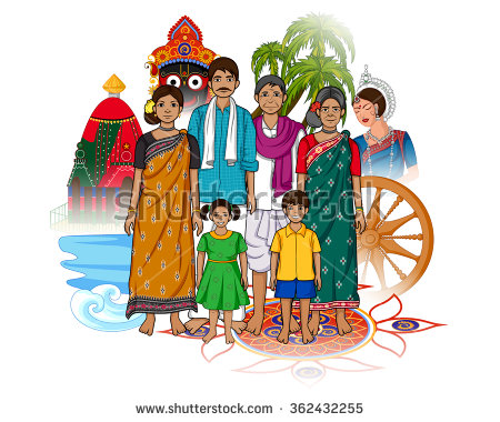 Indian clipart family photo Showing of Vector Odia