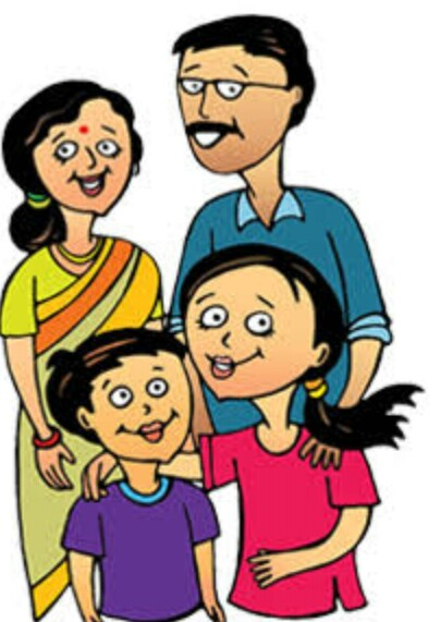 Indian clipart family photo *Daughter go middle family of