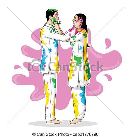 Indian clipart holi Vector Holi playing Playing Holi