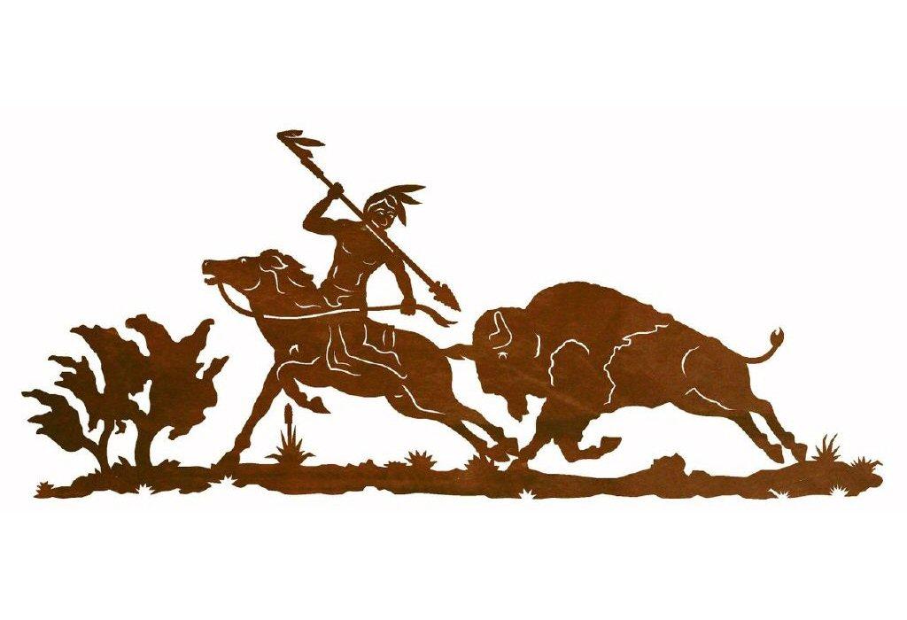 Indian clipart hunting buffalo Indian Western Wall Buffalo Art