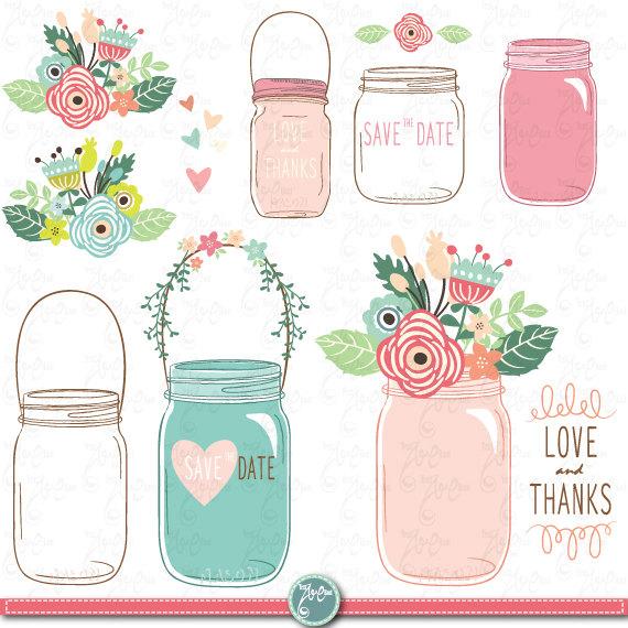 Vintage Flower clipart mason jar drawing Invitation