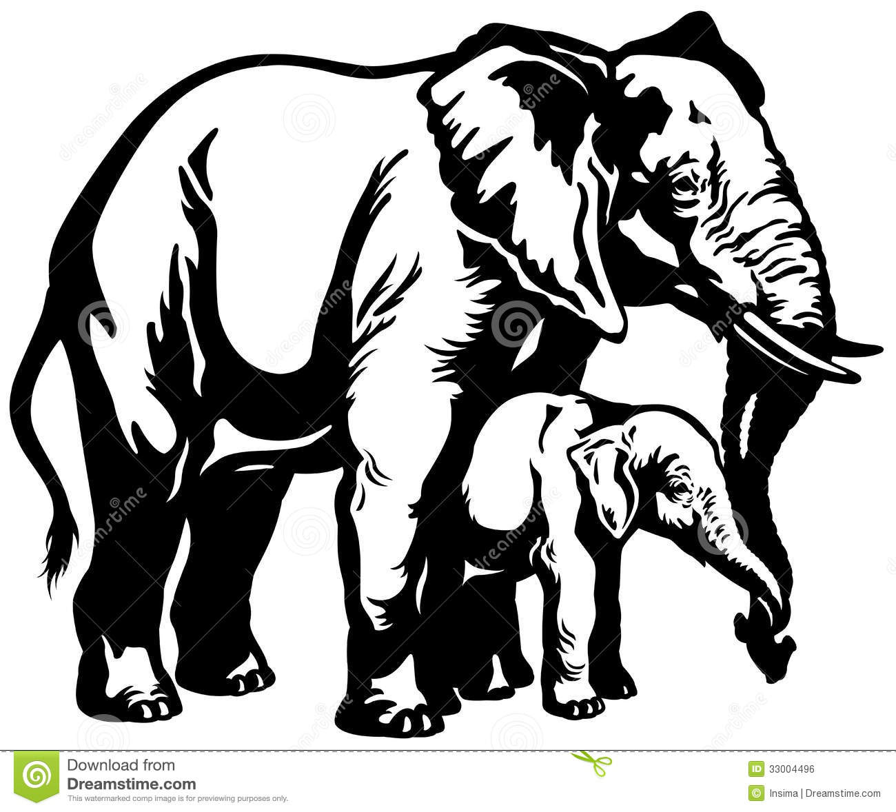 Indian clipart mother & baby Art Elephant And White Clipart