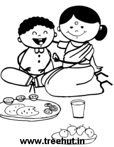 Indian clipart mother and child Figures and meal Clipart time