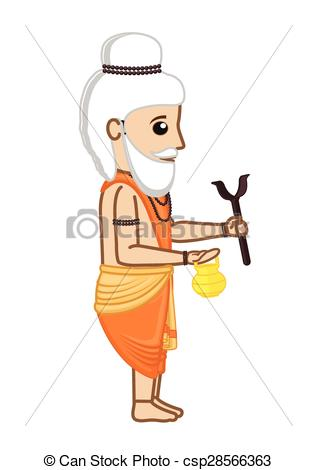 Meditation clipart hindu saint Vector Old Cartoon Saint Old