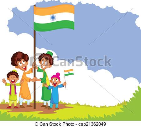 Indian clipart patriotism Of EPS children flag clipart