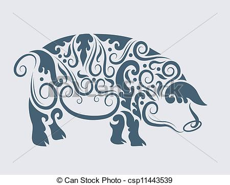 Indian clipart pig Of floral design vector vector