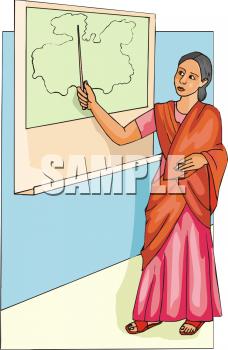 Indian clipart school teacher  Map Pointing Sari at