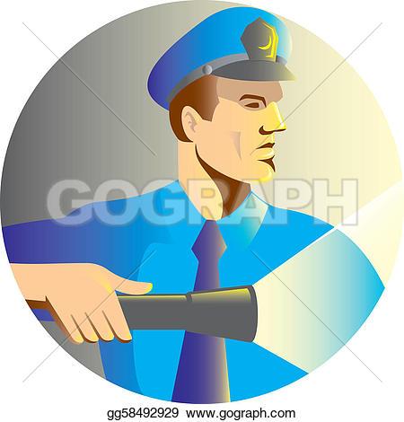 Indian clipart security guard Stock Security guard flashlight Free