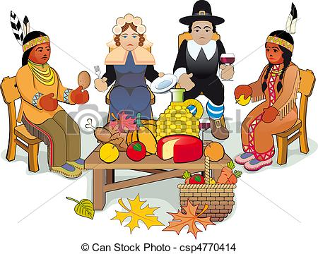Indian clipart thanksgiving EPS Pilgrims Thanksgiving Couple of