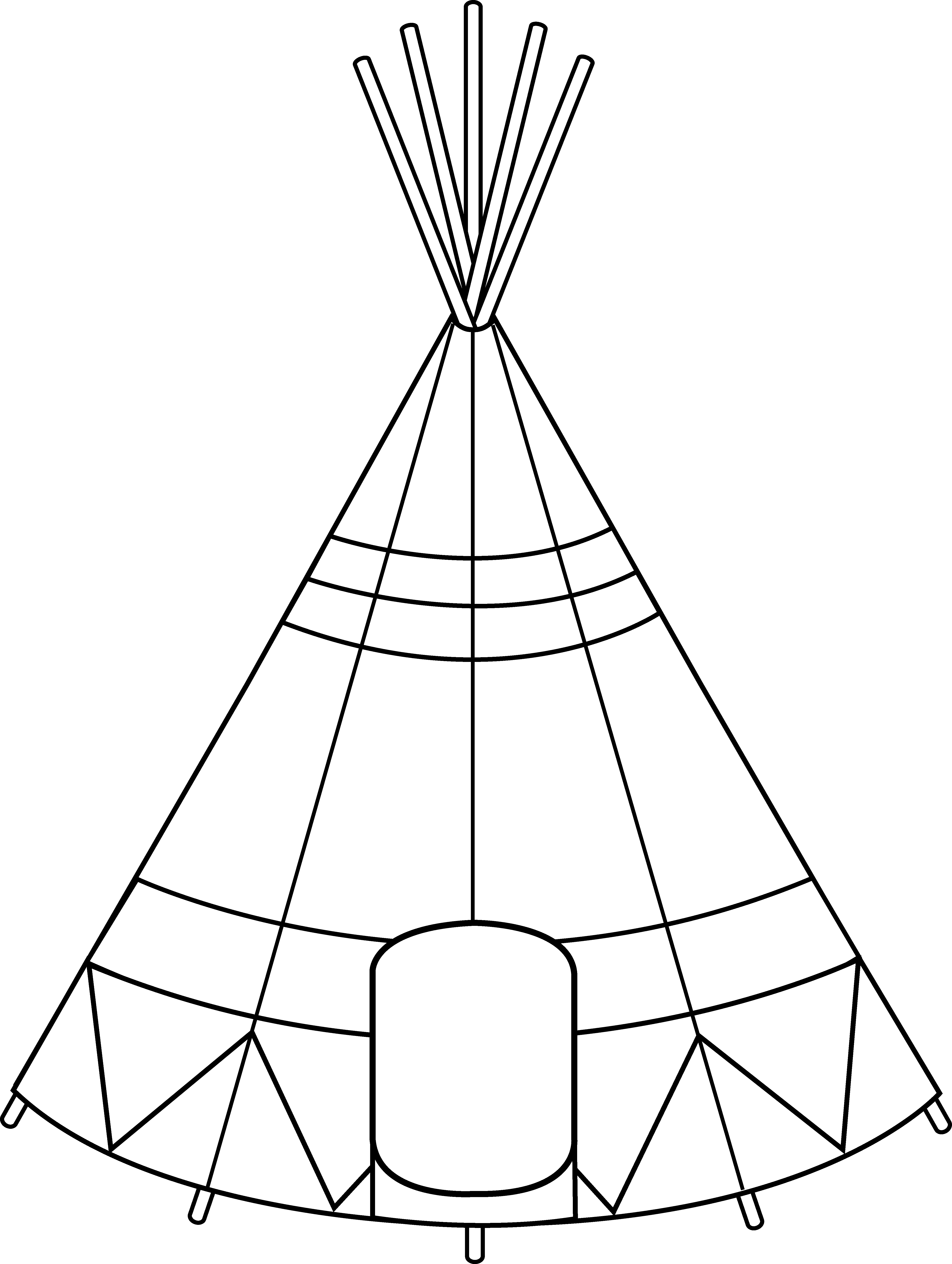 Native American clipart teepee tent Art Teepee Design Colorable Free