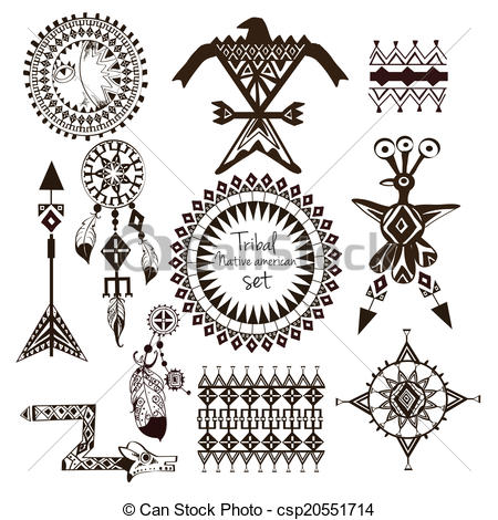 Indian clipart sad Csp20551714  Tribal native set