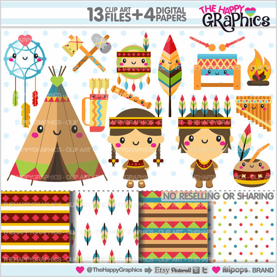 Indian clipart tribal Clipart  USE COMMERCIAL Il_570xn